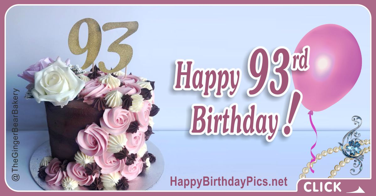 Happy 93rd Birthday with Gold Gemstone Card Equivalents