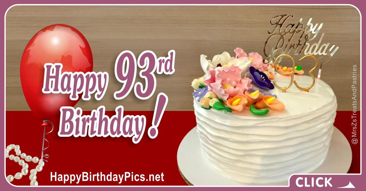 Happy 93rd Birthday with Pearl Choker Necklace Card Equivalents