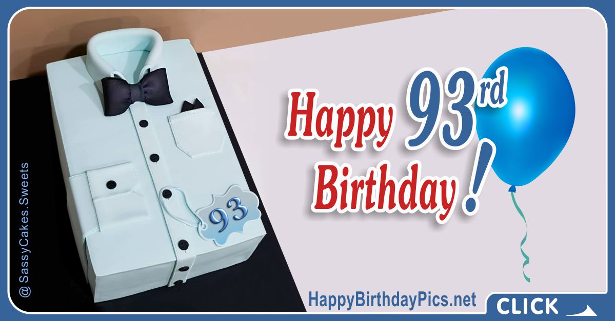 Happy 93rd Birthday with Blue Shirt Card Equivalents