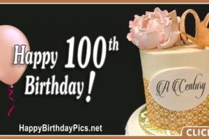 Happy 100th Birthday with Pink Rose and Butterfly