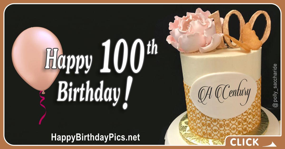 Happy 100th Birthday with Pink Rose and Butterfly Card Equivalents