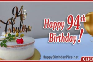 Happy 94th Birthday with Gold Letters