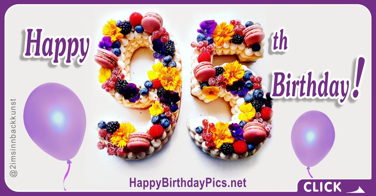 Happy 95th Birthday with Figure Cakes and Berries Card Equivalents
