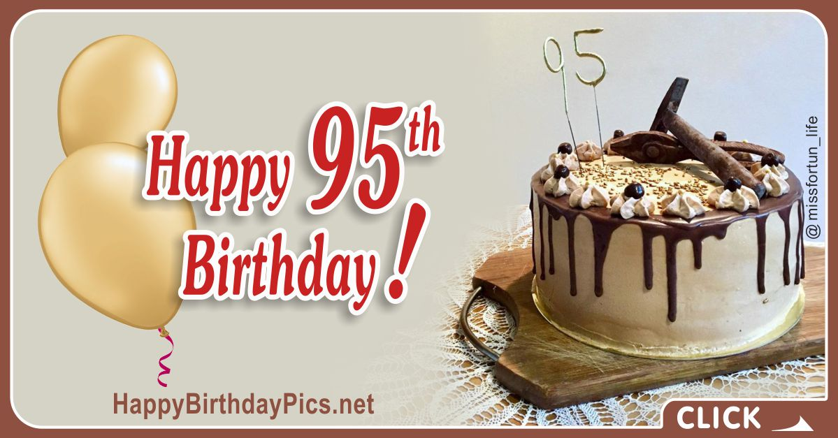 Happy 95th Birthday with Yellow Silver and Hand Tools Card Equivalents