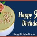 Happy 96th Birthday with Yellow Cake and Pink Roses
