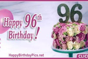 Happy 96th Birthday with Purple Flowers