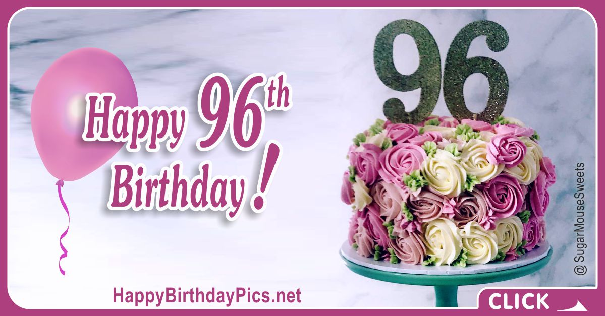 Happy 96th Birthday with Purple Flowers Card Equivalents