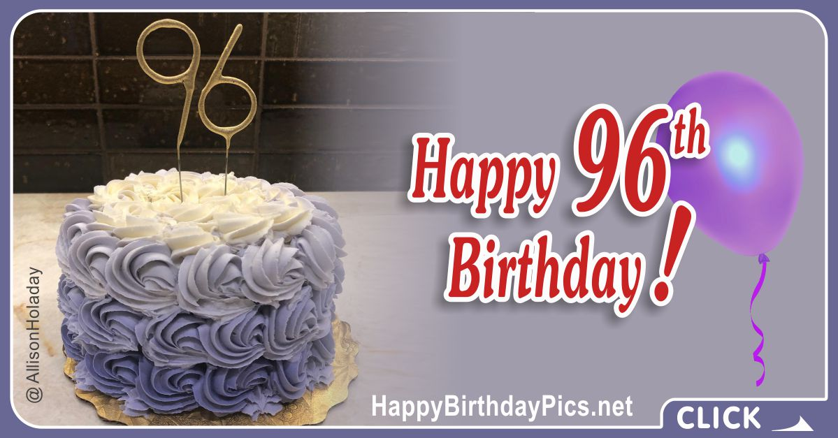 Happy 96th Birthday with Gold Figures Card Equivalents