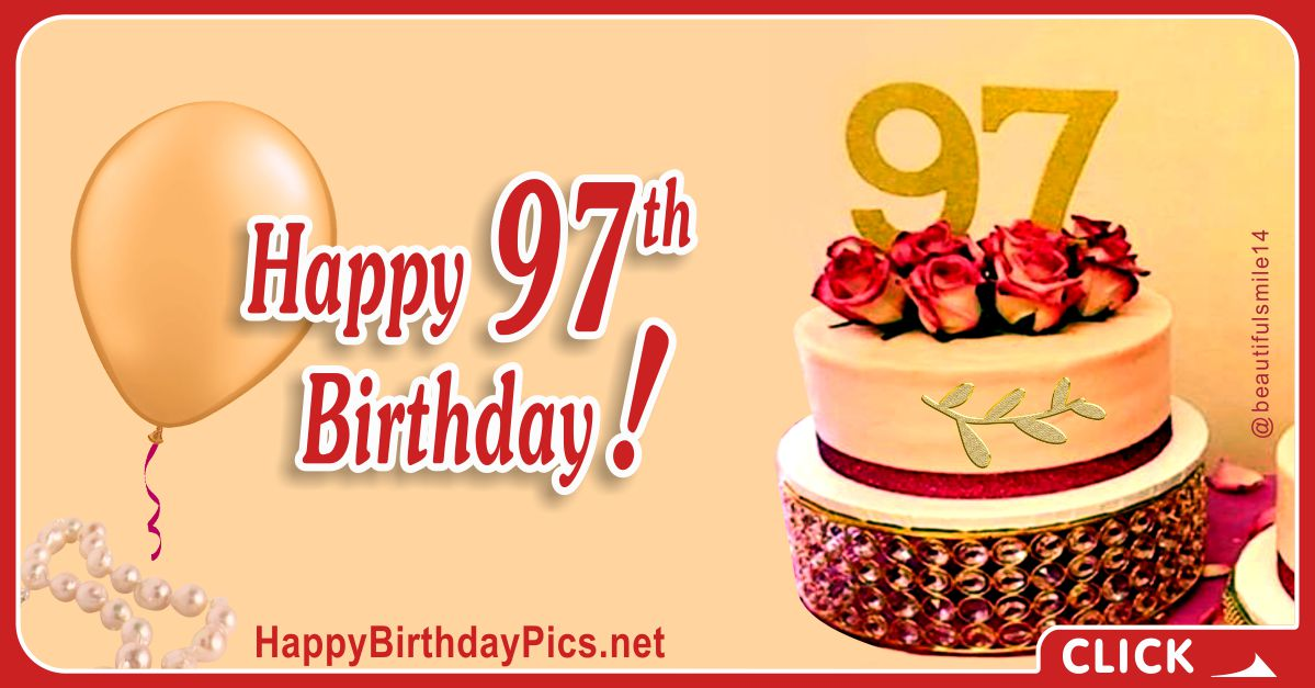 Happy 97th Birthday with Ruby Flowers and Pearl Brooch Card Equivalents