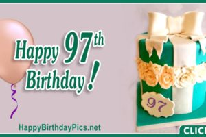 Happy 97th Birthday with Green Gift Box