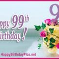 Happy 99th Birthday with Gold Purple Roses