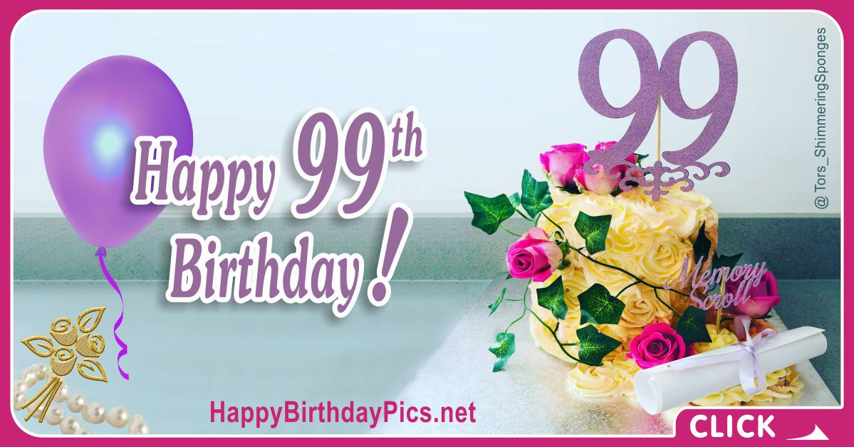 Happy 99th Birthday with Purple Roses Card Equivalents