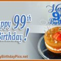 Happy 99th Birthday with Blue Silver Figures
