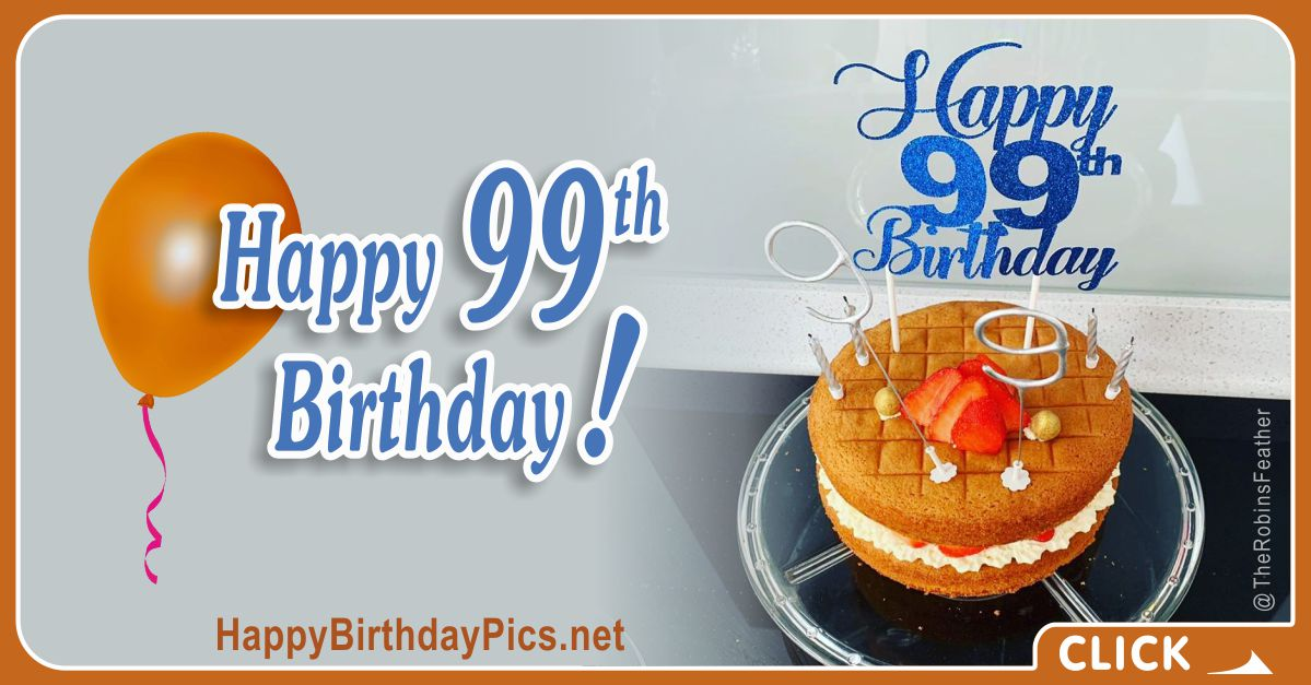 Happy 99th Birthday with Blue Silver Figures Digits Card Equivalents