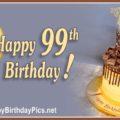 Happy 99th Birthday with Yellow Chocolate Cake