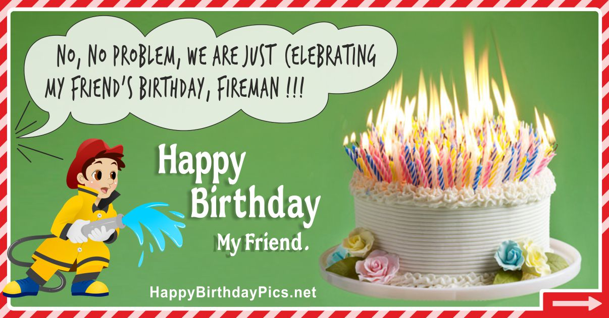 Happy Birthday - No Problem Fireman Funny Card Equivalents