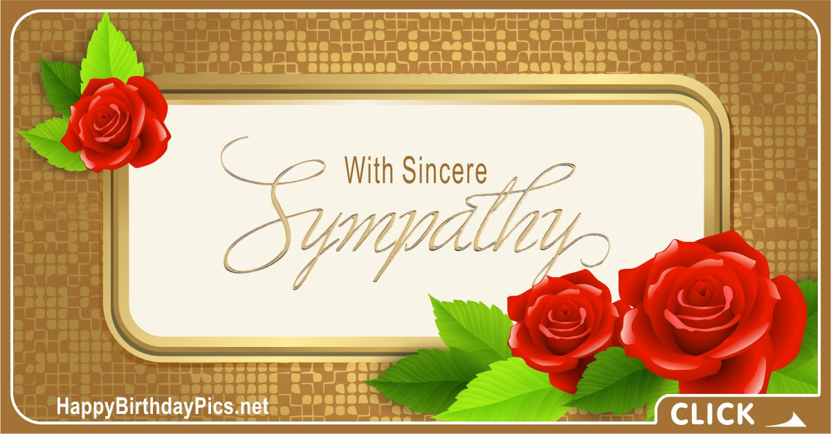 Condolence Message with Gold and Red Roses Card Equivalents