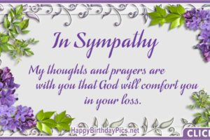 In Sympathy – My Thoughts and Prayers Are With You