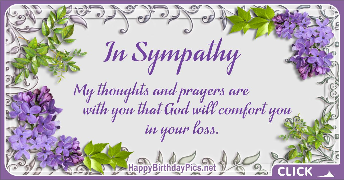In Sympathy - My Thoughts and Prayers Are With You Condolences Message Card Equivalents