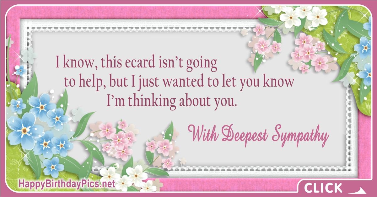 With Deepest Sympathy - Thinking About You Message Card Equivalents
