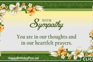 With Sympathy – You Are In Our Prayers