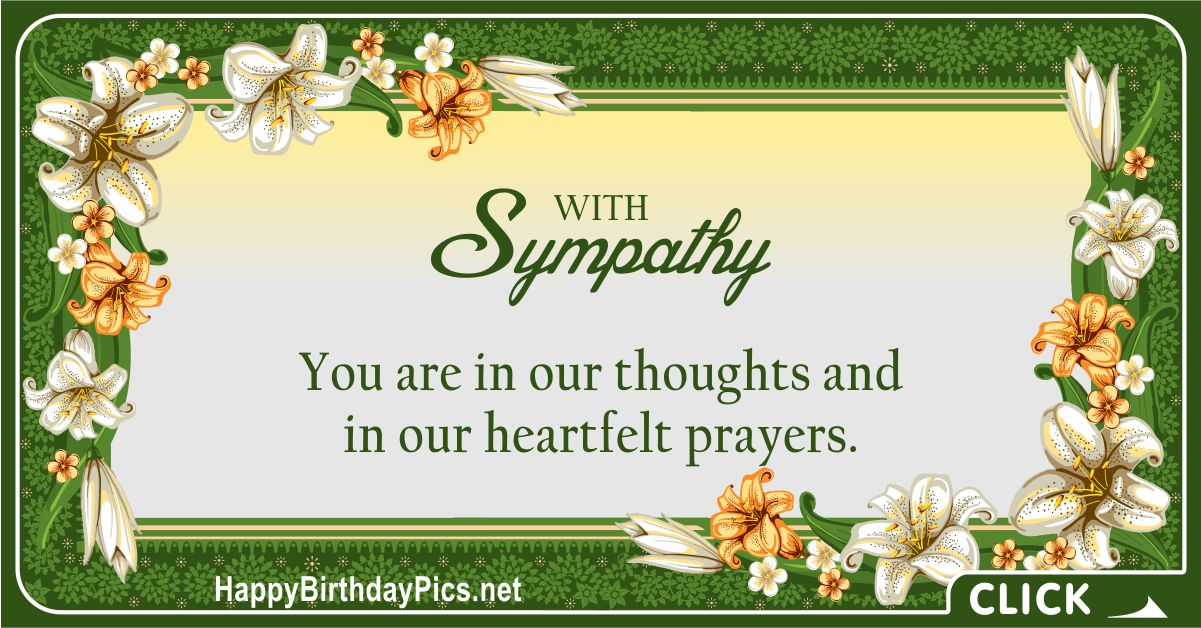 With Sympathy - You Are In Our Prayers Message Card Equivalents
