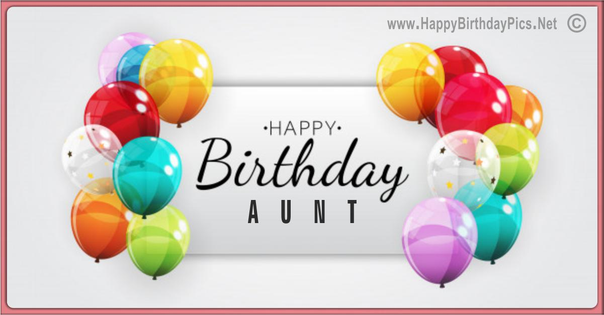 Happy Birthday Aunt - Balloons and Elegance Card Equivalents