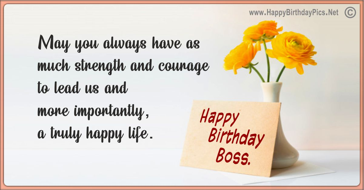 Happy Birthday Boss - Have Strength and Courage Funny Card Equivalents