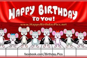 Pianist Mice Are Playing Happy Birthday To You Song on The Piano