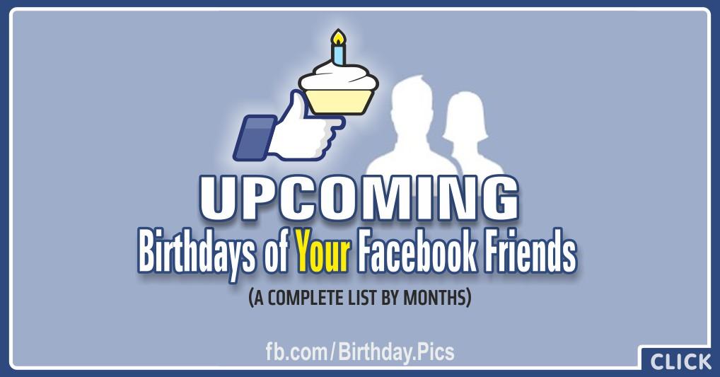 Upcoming Birthdays List on Facebook
