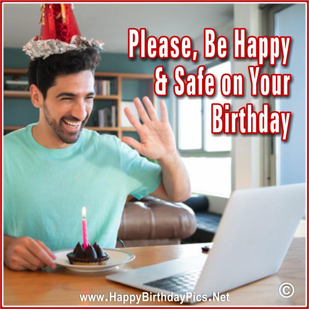 Virtual party, online birthday celebration photos